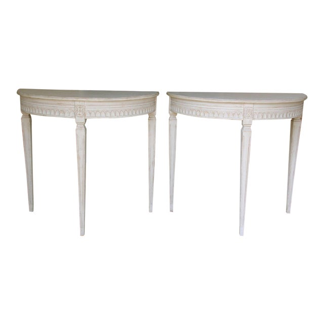 19th Century Pair of Swedish Gustavian Bedside Demilune Console Tables For Sale