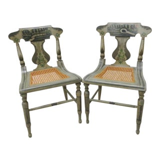 19th C. Baltimore Paint Decorated Side Chairs - A Pair