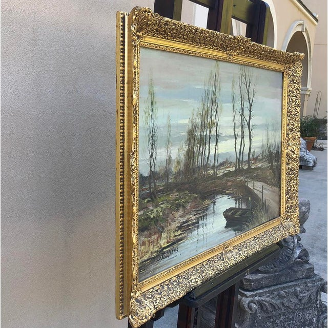 Antique Framed Oil Painting on Canvas Signed T. Moens For Sale - Image 9 of 11
