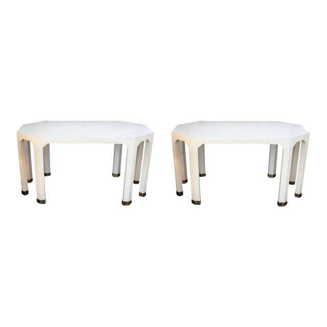 Mid-Century Cream Octagon Shaped Side Tables - a Pair For Sale