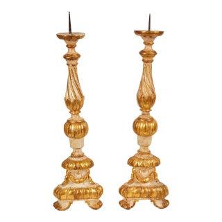 Pair of 18th Century Italian Gilt Candlesticks
