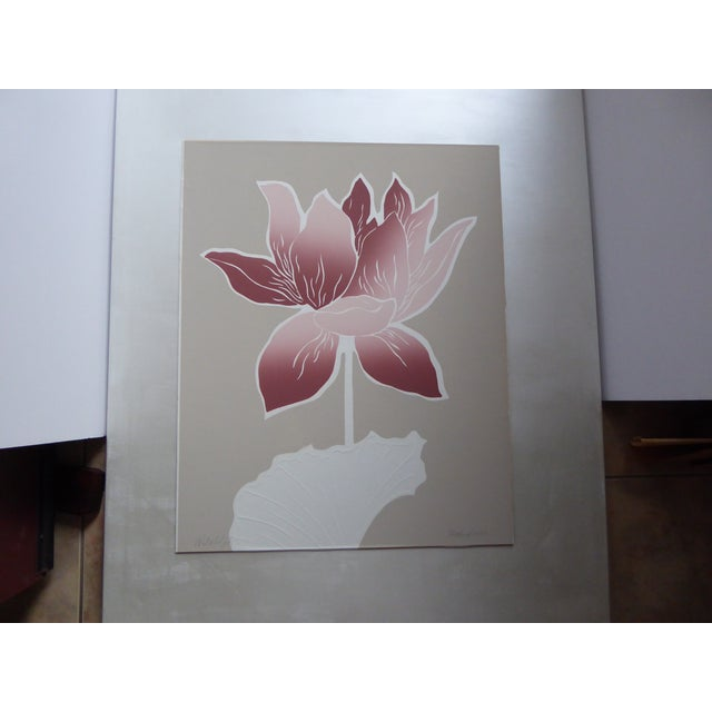 """1983 Signed Embossed Serigraph, """"WaterLilly I"""" by A Wood. Large, beautiful contemporary piece. Graphic Color scheme gives..."""