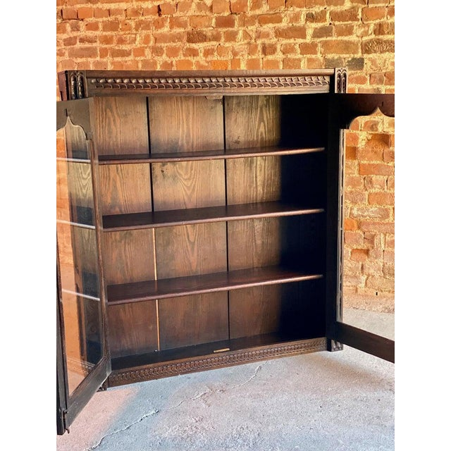 1880 Antique Gothic Solid Oak Bookcase For Sale - Image 6 of 11