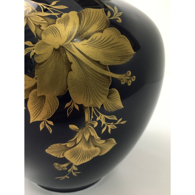 Metal Cobalt Porcelain Vase With 22 Carat Gold Floral Motif by A. K. Kaiser W Germany For Sale - Image 7 of 11