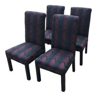 1980s Vintage Chevron Burgundy Retro Parsons Chairs** - Set of 4 For Sale