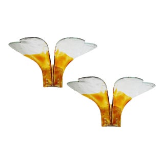 Amber and Clear Murano Glass Heart Sconces by Carlo Nason - a Pair For Sale