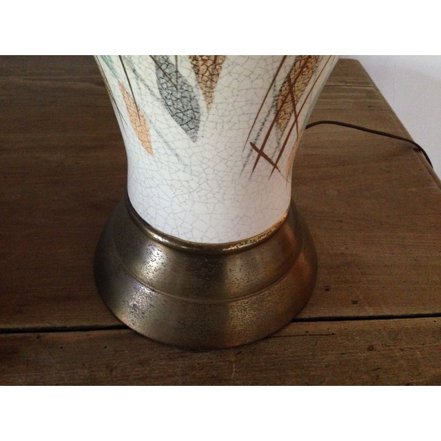 1950s Tall Diamond-Patterned Ceramic Table Lamp - Image 6 of 6