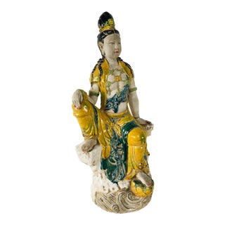 1980s Chinese Guan Yin Majolica Statue For Sale