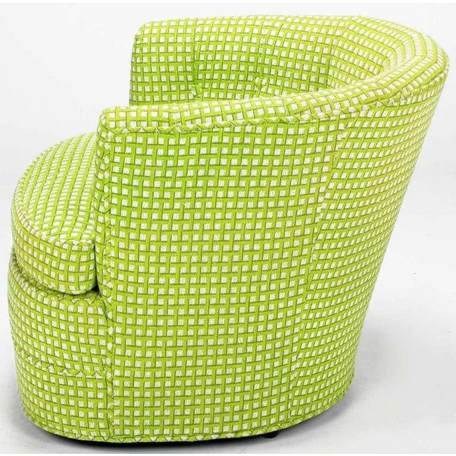 Pair Barrel Back Swivel Chairs In Chartreuse Needlepoint - Image 4 of 8