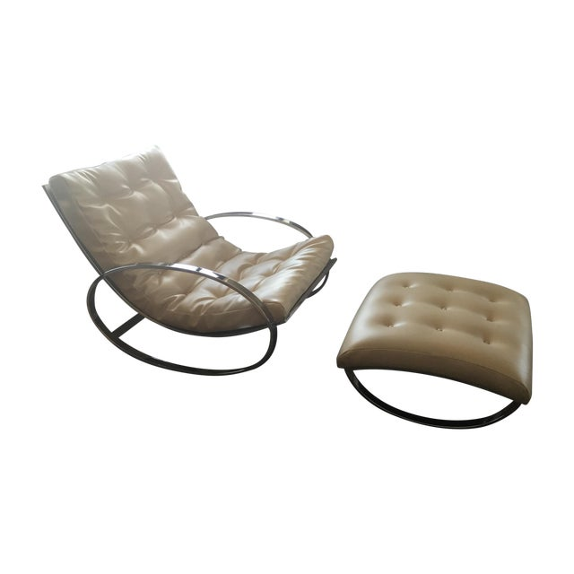 Renato Zevi Ellipse Rocking Chair and Ottoman - Image 1 of 11