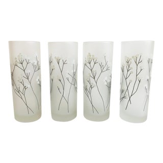 Vintage Satin Glass Cotton Highball Tumblers - Set of 4 For Sale