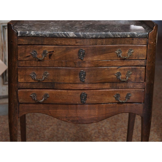 19th Century French Walnut and Marble Side Table For Sale - Image 9 of 9