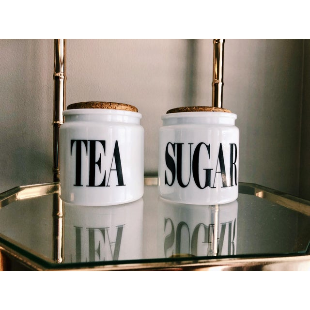 White Vintage Milk Glass Sugar & Tea Canister Jars - A Pair For Sale - Image 8 of 8