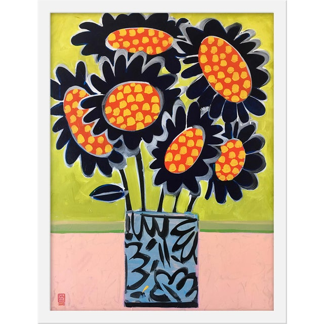 """Contemporary Medium """"Blue Sunflowers"""" Print by Jelly Chen, 17"""" X 22"""" For Sale - Image 3 of 3"""