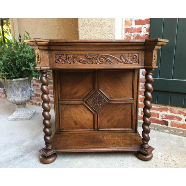 Antique English Carved Oak Barley Twist Hall Console Table Cabinet Gothic Stand For Sale - Image 12 of 12