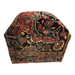 Square Ottoman W/ Antique Tribal Bakhtiari Rug