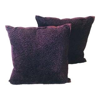 Dark Purple Pillows, a Pair For Sale