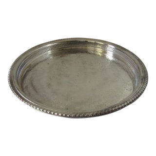 Vintage Etched Design Silver Plate Bar Tray For Sale