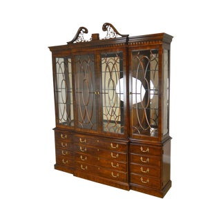 Henredon Rittenhouse Square Collection Mahogany Large Chippendale Style Breakfront Cabinet For Sale