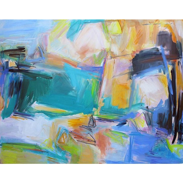 """Teal """"Remembering Bermuda"""" by Trixie Pitts Extra-Large Abstract Oil Painting For Sale - Image 8 of 9"""