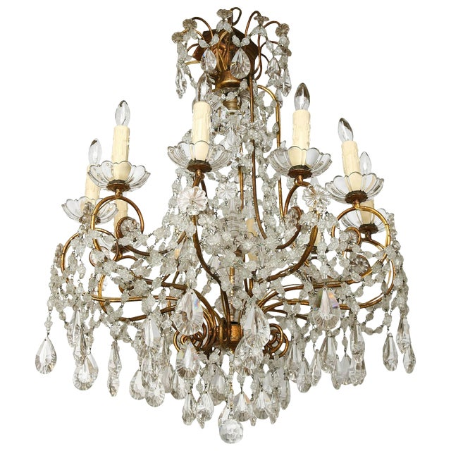 Unusual Ten-Light Gilded Iron Italian Chandelier, Early 20th Century For Sale