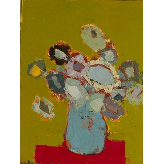 """Bill Tansey """"Light Blue Vase"""" Abstract Floral on Linen For Sale"""
