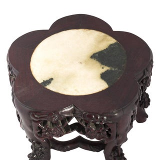 19th Century Chinese Marble Top Carved Rosewood Stand or Table Preview