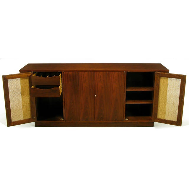 1950s Dunbar Walnut and Cane Credenza by Edward Wormley For Sale - Image 5 of 10