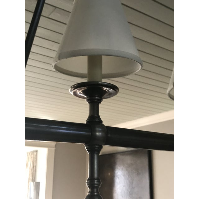 Visual Comfort Visual Comfort Linear 5 Light Pendant in Antique Nickel With Silk Shades. For Sale - Image 4 of 6