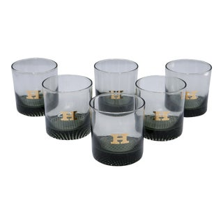 1970s Mid-Century Lowball Smoky Gray Glasses With the Letter H - Set of 6 For Sale