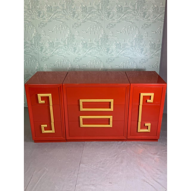 1970's Greek Key Mid Century Cabinets-Set of 3 For Sale In Dallas - Image 6 of 6