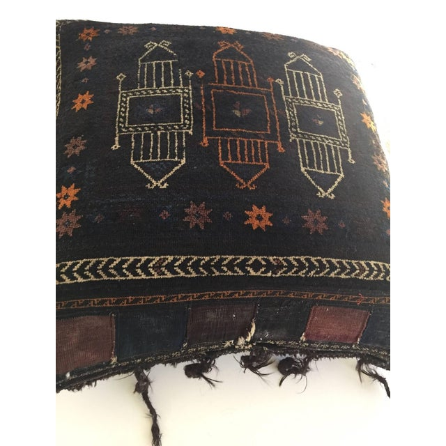 Handmade Antique Collectible Afghan Baluch Saddle Bag Tribal Large Floor Cushion For Sale - Image 11 of 13