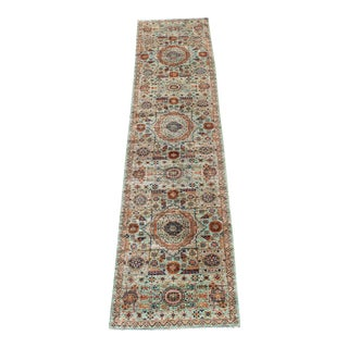 Hand Knotted Colorful Wool Runner - 2'6''x 11'7'' For Sale