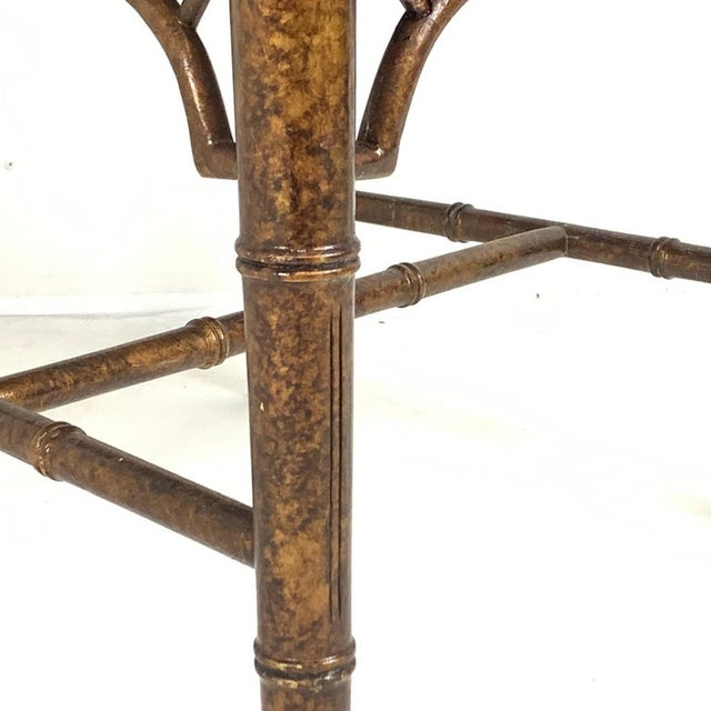 Set of 6 Upholstered Faux Bois Bamboo Chinese Chippendale Cane Dining Chairs For Sale - Image 4 of 13