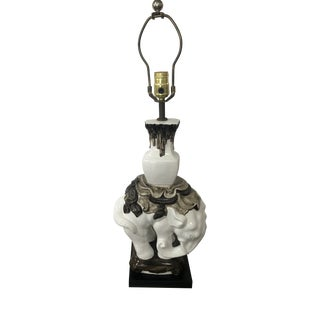 Black Grey and White Ceramic Elephant Lamp by Chapman For Sale