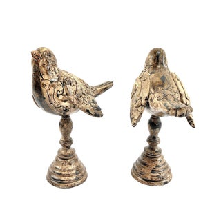 Birds Figures on Pedestals - a Pair