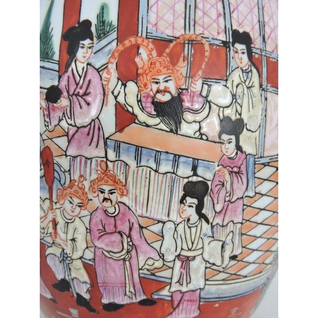 Early 20th Century Antique Chinese Rose Mandarin Lidded Porcelain Ginger Jar For Sale - Image 5 of 11