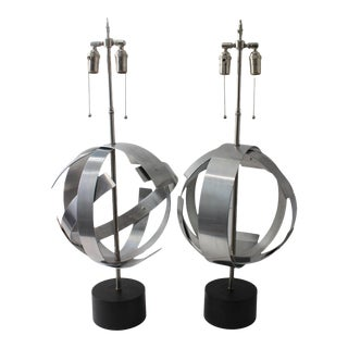 Vintage Modern Armillary Style Aluminum Table Lamps - the Pair For Sale