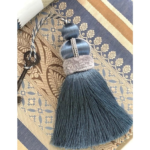 """Blue Key Tassel With Cut Ruche - Tassel Height - 5.75"""" Tassels have a hand cut velvet ruche, decorative gimp and twisted..."""