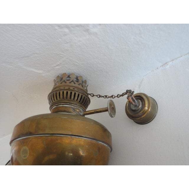 Fine Early 19thc Brass Oil Lamp With Original Glass Globe For Sale In Los Angeles - Image 6 of 7