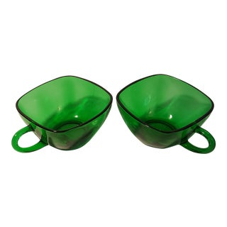 Anchor Hocking Forest Green Charm Cups, a Pair For Sale