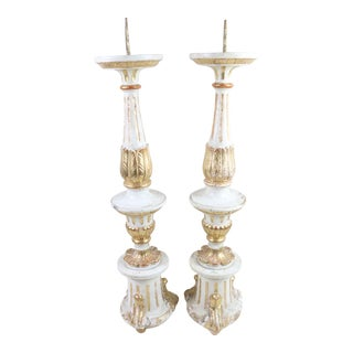 Mid 19th Century Italian Antique White and Gold Gesso Candle Holders - a Pair For Sale