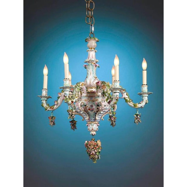 Meissen Porcelain Meissen Porcelain Six-Light Rococo Style Chandelier For Sale - Image 4 of 5