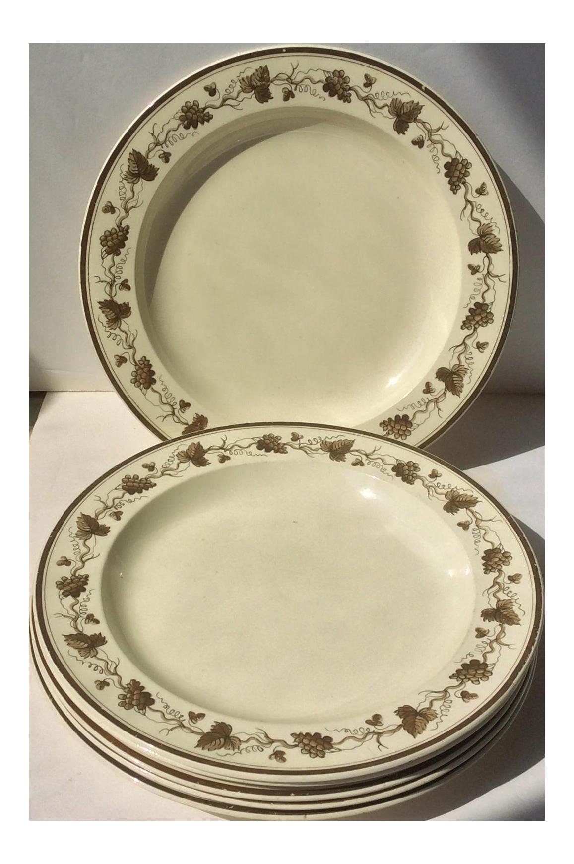 Creamware Plates With Grape Leaf Design - Set of 6  sc 1 st  Chairish & Creamware Plates With Grape Leaf Design - Set of 6 | Chairish