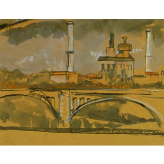 Industrial French Skyline With Bridge For Sale