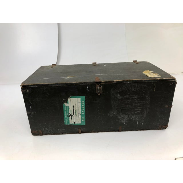 Vintage Industrial Wood Military Foot Locker With Tray For Sale - Image 13 of 13