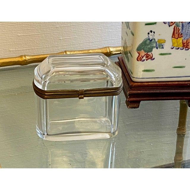 Antique 1800's French crystal clear beveled glass box with hinged brass closure.