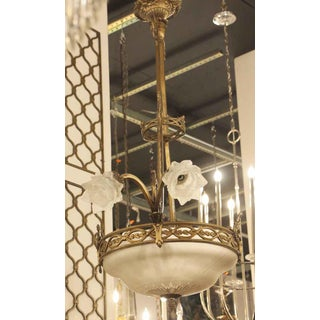 Antique Bronze Chandelier With Frosted Glass Shades Preview