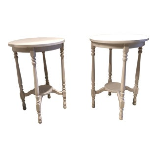 Vintage Cottage Solid Wood Painted End Tables - a Pair For Sale