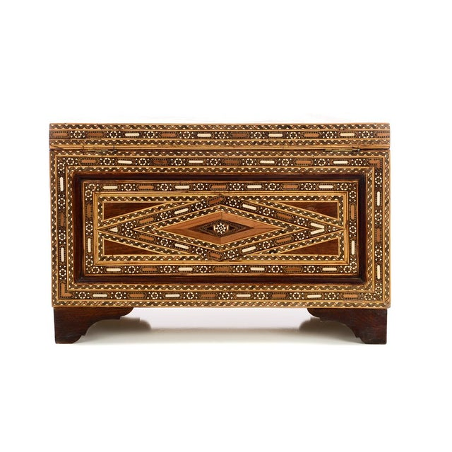 Brown Beautiful Moroccan Inlaid Vintage Trunk Chest W/Geometric Design For Sale - Image 8 of 10